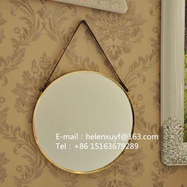 Perfect Großhandel Billig 55 Durchmesser Schwarz Beschichtet Metallrahmen Dekorative  Wandspiegel Mit Lederband