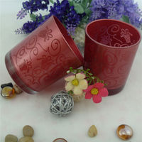 glass red color tea cup candle holder