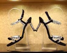 2015 summer crystal mid heel sandals women simple fashion sandal black