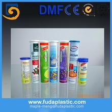 Plastic Vitamin C effervescent tablet tube with desiccant inside