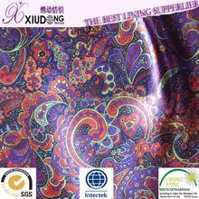 lady garment printed satin lining fabric
