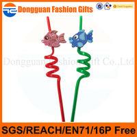 Custom fish design pvc / pp plastic drinking straw with 2D/3D decoration