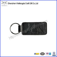 Exquisite Fashion Embossed Black Leather Keychain