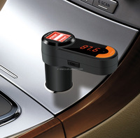 Smart bluetooth car fm transmitter with 2USB Support from a car cigarette lighter voltage 12-24V