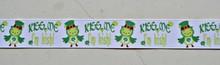 "Kiss Me I'm Irish Owls on white 7/8"" grosgrain ribbon- St Patricks day"