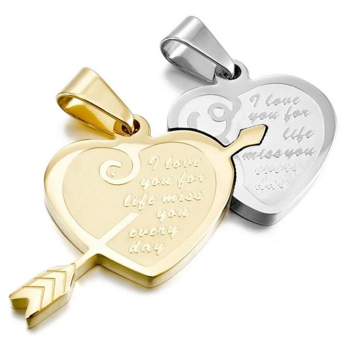 Mens womens couple stone mandrel design wholesale stainless steel picture of two heart pendants aloadofball Image collections