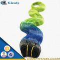 Venta de exótico !!! El tejido de pelo negro azul verde brasileña azul de onda suelta de ombre de la moda barata 8-36 pulgadas