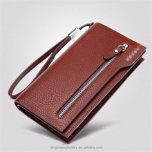 New best brand man leather wallet with hand strap