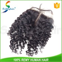 Factory Cheap Price 6A Brazilian Human Virgin Hair Free Middle Part Jerry Curly Top Lace Closure Bleached Knots Pieces
