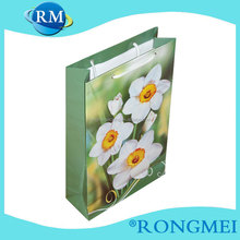 Flower design green cloth paper shopping bag
