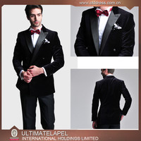 2015 new high quality processing tailor made men black velvet suits