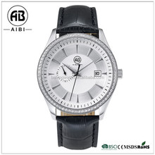 Vintage oem brand genuine leather with sapphire coating glass men businless wirstwatch