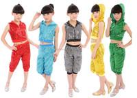 Hotsale sleeveless boys girls Ballroom kids Jazz dance costumes with hood sequin