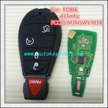 car keys for chrysler dodge jeep fobik #5 4+panic remote control key 434mhz electric 46chip with uncut small key