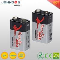 Environmentally friendly 9v 6F22 brand zinc carbon battery