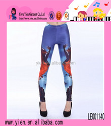 Hot Sexy Girl Pattern Printed Trouser Ladies Casual Charming Tight Blue Stretch Trouser