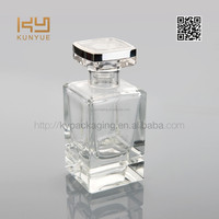 cuboid-shaped glass perfume bottle with plastic cap