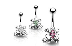 Gemmed Frog Green/Clear/Pink Belly Button Navel Ring Body Piercing Jewelry