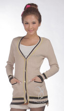 Tipped Cashmere V Neck Cardigan Cashmere Coat Woman