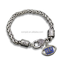Wholesale Alloy Colored New York Giants Sports Team Sign Fans Chain Bracelets