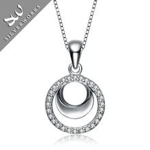 Fashion elgant silver pearl pendant 925 silver necklace for women