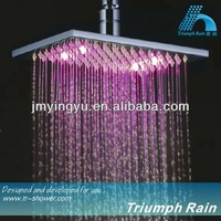JFQ045CP 3 color changing water power brass LED shower heads