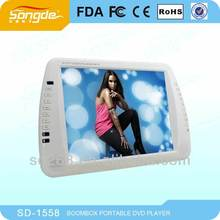 large capacity rechargeable battery 15 inch digital panel LCD TV with DVD/VGA/USB/SD multimedia player