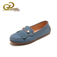 Elegant loafer flat lady shoes Sky blue matte leather classic driving Italian original gold buckle design lady shoes