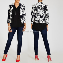 Latest designing 3/4 length sleeve floral print fancy blazer women 2015