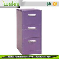 Beautiful style steel vertical 3 drawer purple filing cabinet