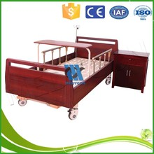 Manual nursing bed with two functions solid wood hospital bed
