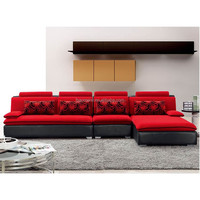 2015 luxury fabric modern red L shape sofa V33 online sale hot sale