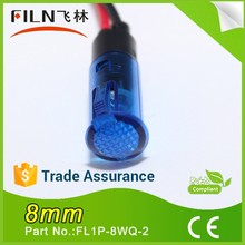 8mm plastic non-polarity blue white ROHS approved draught fan caution led arrow indicator light with 20cm wire