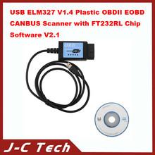 USB ELM327 V1.4 Plastic OBDII EOBD CANBUS Scanner with FT232RL Chip Software V2.1