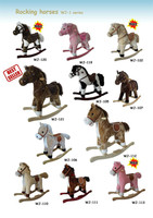 71*30*54cm EN71 lovely customized stuffed plush children rocking horse series toy with wooden base&music