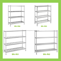 4 Tiers Heavy Duty Stainless Steel Kitchen Storage Rack For Commercial Kitchen Project
