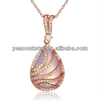 CFN8024 Wholesale Simulated Pink Moon Stone Sterling 925 Silver Rose Gold Plated Pendant Necklace