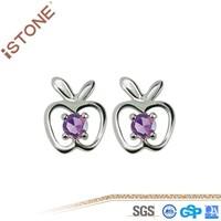 wholesale apple 925 Sterling Sliver Stud Earring for girls