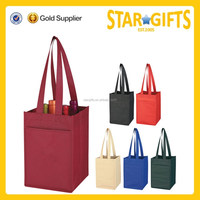 Promotional Cheap Eco-friendly Non Woven 4 Bottle Tote Wine Gift Bag With Divider