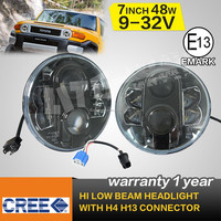 7Inch 48W Car Led Headlights H4 H13 Hi-Low Beam For Jeep Wrangler Toyota Harley