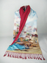 oil painting long satin fashion double-layer silk scarf