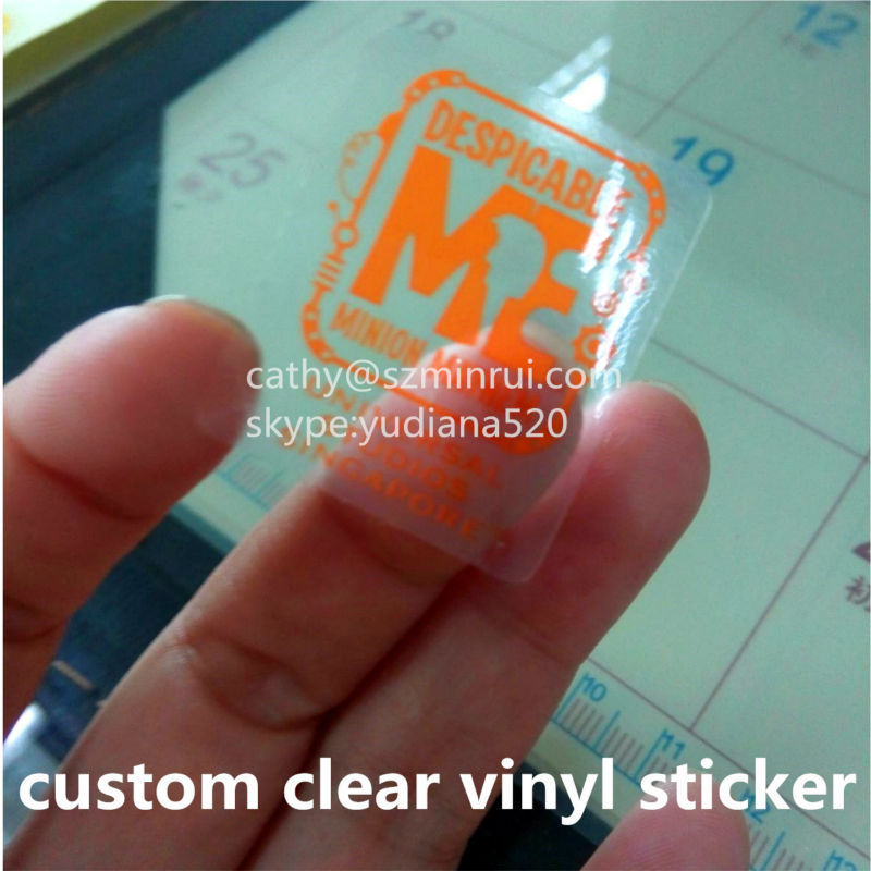 Clear Vinyl Stickers 4 Glossy Silver Two Colors Printing Water Proof Adhesive Sticker