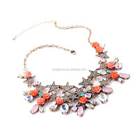 Golden alloy chain crystal star resin rose rhinestone beads layered pendant statement necklace wholesale