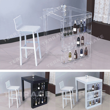 Lucite mini bar table with wine rack,Modern acrylic Pub Tables
