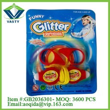 Promotion toy glitter pull line fly wheel light-up plastic toy