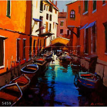 Handmade famous venice italy oil painting landscape art on canvas, Venetian Colours by Michael Otoole