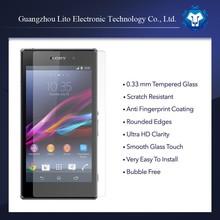 Wholesale Mobile phone clear Tempered Glass Screen Protector guard for sony xperia z1
