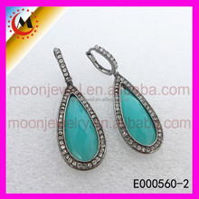 OEM/ODM SERVICE AVAILABLE FASHION STERLING SILVER EARRINGS WITH ZIRCON TURQUOISE