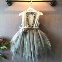 YD2336korean kids clothing puffy veil grey girl dress