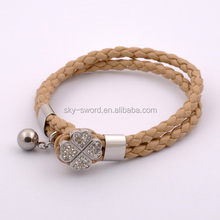 Bradied Wrap 2014 PU Leahter Bracelet With Crystal Clover Closure